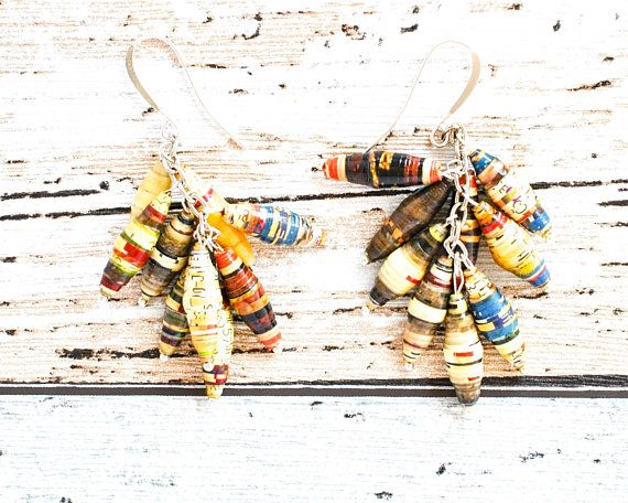 Multicolored Earrings - Paper Bead Earrings - Unique Earrings - Striped Earrings - Sustainable Jewelry - Unique Jewelry - White Earrings handmade thecoastaldesert the coastal desertjewelry jewellery recycled upcycled