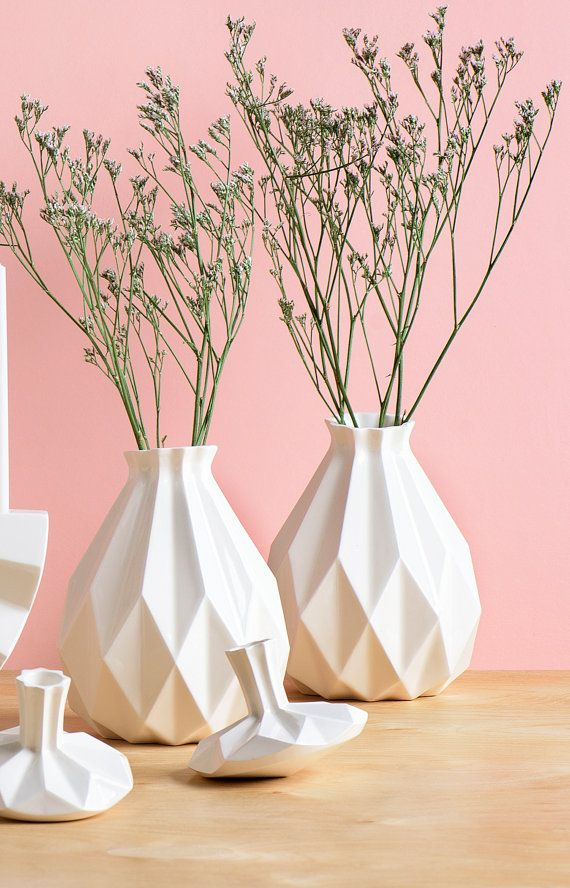 Rosh HaShanah Gift idea ,Geometric vase, White ceramic vase, Origami inspired , flower vase, Modern home decor vase