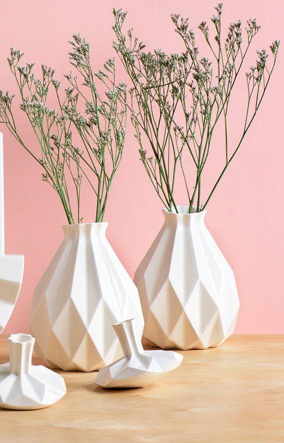 Geometric vase, White ceramic vase, Origami inspired Rosh HaShanah Gift idea, Rosh-Hashana gift, flower vase, Modern home decor vase