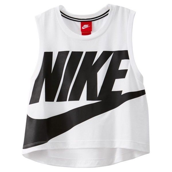 Women's Nike Sportswear Essential Crop Tee ($35) ❤ liked on Polyvore featuring tops, t-shirts, logo design t shirts, sporty crop top, nike tee, cut-out crop tops and nike t shirt
