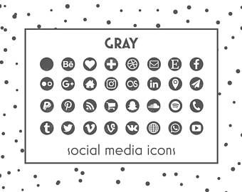 Social Media Icons • Gray Icons • Gray Buttons • Social icons • Icons for website, blog, business cards and resume • Social Media Buttons
