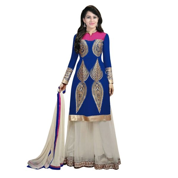 Buy Blue Latest Pakistani Fashion Plazzo Kameez Suit In 60 GM Online at cheap prices from Shopkio.com: India`s best online shoping site