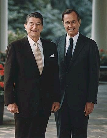 President Ronald Reagan and VP George H.W. Bush.