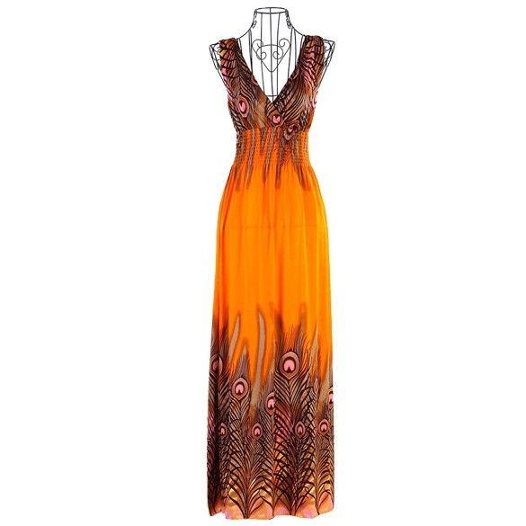 New Fashion New Womens Bohemian Peacock Tail Hawaiian V-neck Long Beach Dress Sundress Summer