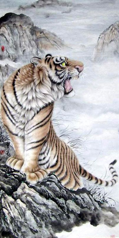 Chinese Tiger Paintings Artists | Tiger,69cm x 138cm(27〃 x 54〃),4687007-z