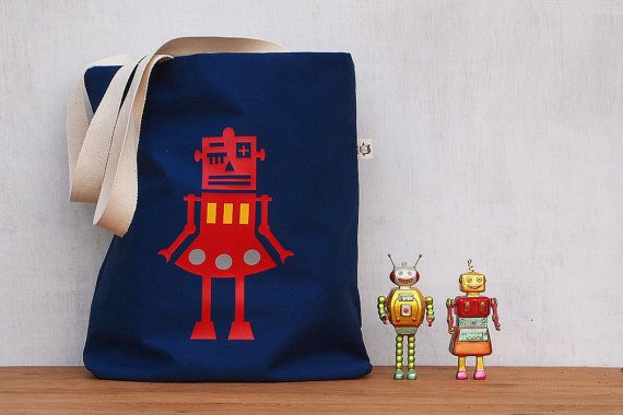 Robot Tote Bag  heat press vinyl printblue canvasred robot/polkadot  FREE SHIPPING World Wide - $32.00