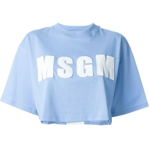 MSGM Cropped Logo T-Shirt (€105) ❤ liked on Polyvore featuring tops, t-shirts, shirts, blue, t shirts, cropped shirts, logo t shirts, cotton logo t shirts and crop top
