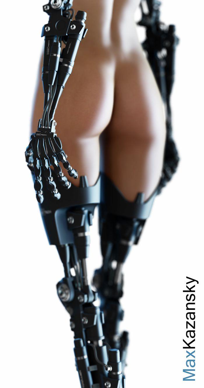 Cyberpunk from behind by Max Kazansky | Robotic/Cyborg | 3D | CGSociety