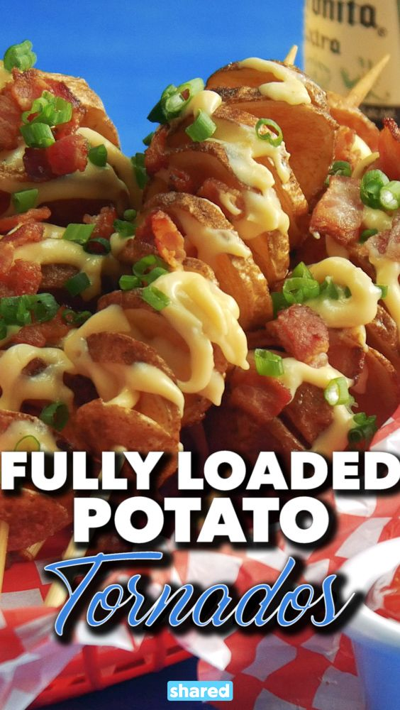 This recipe is gold! Before we made this, I had only ever had tornado potatoes at summer festivals...but now you can make them at home! These Fully Loaded Tornado Potatoes are ridiculously easy to make, and with all the toppings piled on, they're so good! These are perfect for a party - set up a little buffet toppings station for everyone to grab what they like, and get frying!