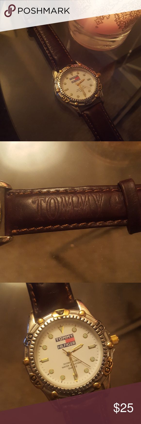 Tommy Hilfiger Watch Excellent leather band with embossed branding. Gold detail. Great condition. Tommy Hilfiger Jewelry