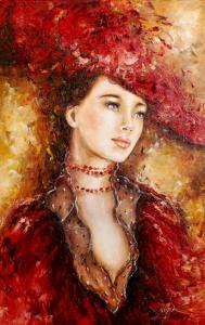 Malarstwo E.Brozek obraz olejny Kobieta 60x40 - Zdjęcie na imgED