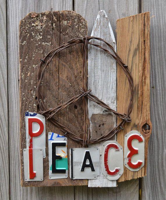 License Plate Art  Peace Sign  Hippie Art Peace  by ruraloriginals