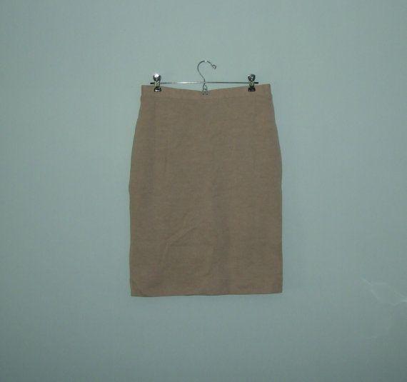 Vintage Ladies Beige Pencil Skirt Italian Wool by jessamyjay