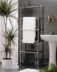 """Wesaunard """"Victorian"""" towel warmer.  Get the Jenna Lyons bathroom looks without the transformer, and annoying your plumber with adapting for UK fixtures."""