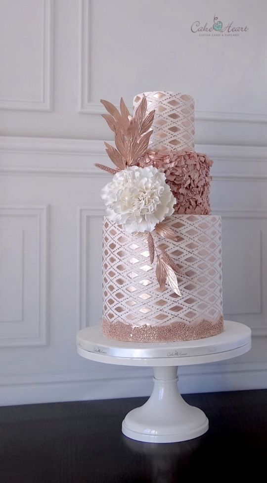 Rose gold metallic geometric wedding cake