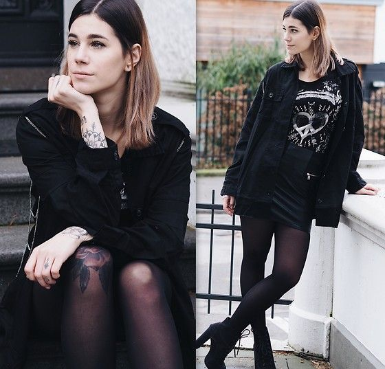 Get this look: http://lb.nu/look/8947748 More looks by Nina Wirths: http://lb.nu/ninawirths Items in this look: Sacred Hawk Jacket, Key Largo T Shirt, H&M Skirt, Primark Heels #edgy #grunge #wasted