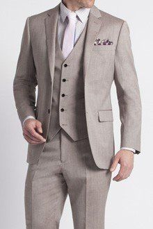 Premium Taupe Twill Three-Piece Suit