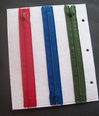 quiet book idea with fine motor skills -- Re-pinned by #PediaStaff. Visit http://ht.ly/63sNt for all our pediatric therapy pins
