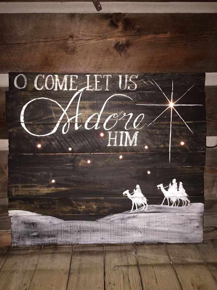 A personal favorite from my Etsy shop https://www.etsy.com/listing/256201124/christmas-o-come-let-us-adore-him