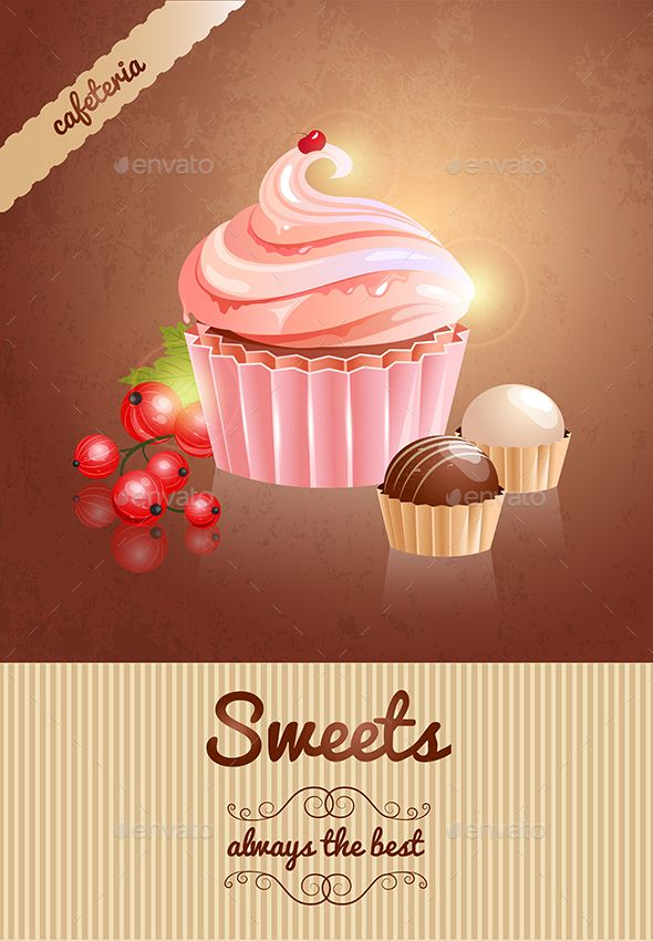 Dessert sweets by FidaOlga Vector poster with a picture of cake, candy and berries. Advertising for coffee shop