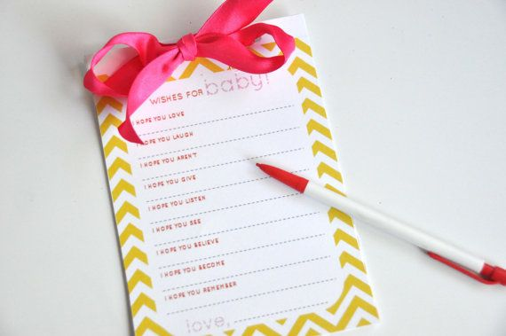 Baby Shower Game Chevron Polka Dot Wishes for by AestheticNest, $6.00
