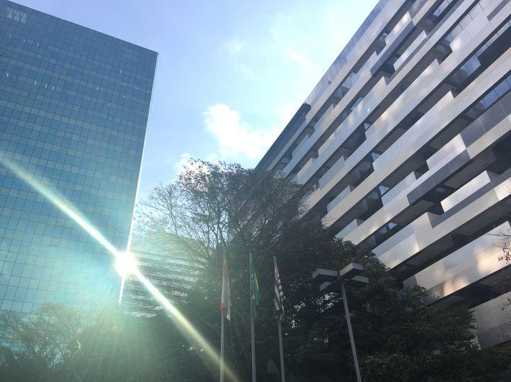 Vista do jardim da Casa das Rosas (Avenida Paulista, 37) À esquerda