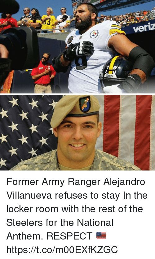 God Bless Him! A man of courage. Stand for the National Anthem and show some respect!