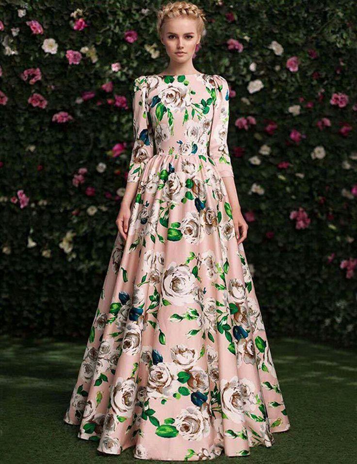 Купить 2015 осень модной женской одежде высокое качество 3/4 рукав симпатичные большой цветочный печатных сладкий принцесса макси длинное платьеи другие товары категории Платья и платье цвет шампанскогов магазин%