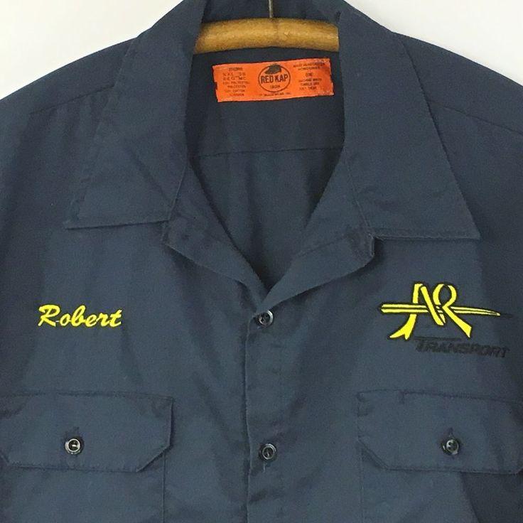 Red Kap Uniform Work Shirt Size XXL Blue Button Down Short Sleeve Transport #RedKap