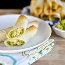 Cheesy Chicken and Cilantro Pesto Baked Flautas - www.SimplyScratch ...
