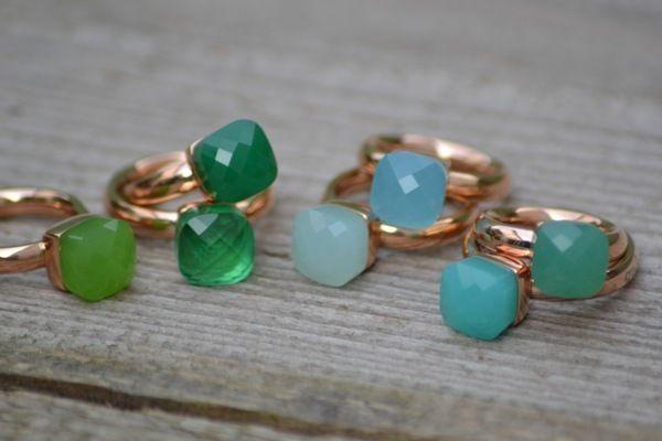 QUDO Ring Firenze * Roségold * Light Green Opal Smaragd Grün Aqua *