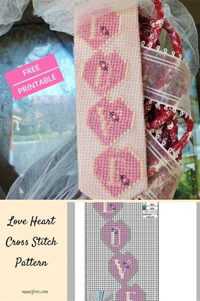 Love Heart Cross Stitch Pattern - free printable cross stitch pattern. Great for Valentines Day or weddings