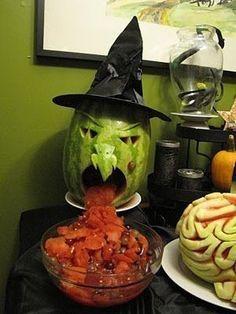 DIY Watermelon Witch halloween halloween party halloween decorations halloween crafts halloween ideas diy halloween halloween pumpkins halloween jack o lanterns halloween party decor jack o lantern ideas