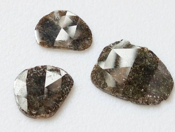 3 Pcs Brown Diamond Slices Free Form Faceted Flat Back