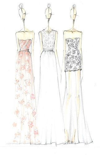 Fashion design sketches - Erin Fetherston floral printed dress drawings; fashion illustration