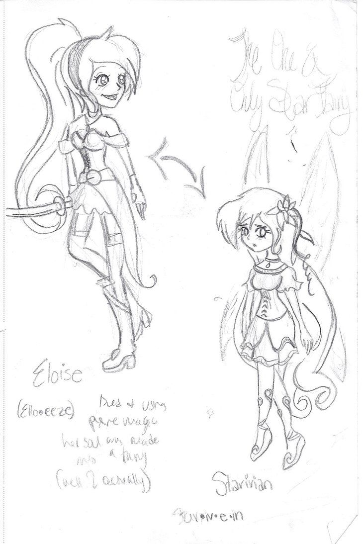 This is a disney Character for a story I'm going to work on :) Eloise is the human, girl and the fairy is Staravian. Oh, and they are the same person.  See the Back Story here: http://pandorarose22.deviantart.com/art/Fairy-Secret-399439823