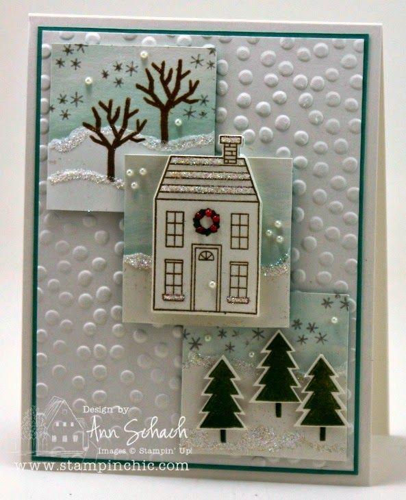 Новогодние открытки с домиками своими руками