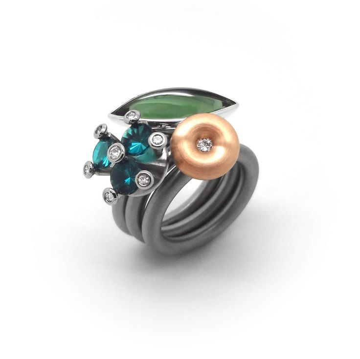 Pur Swivel - Rose Gold & Diamond Piccolo Ring Set - ORRO Contemporary Jewellery Glasgow - www.ORRO.co.uk