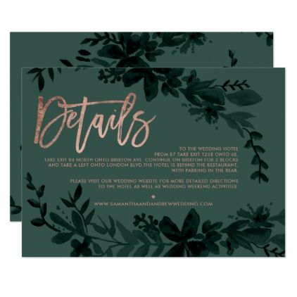 Rose gold script Floral green wedding direction Card - wedding invitations cards custom invitation card design marriage party