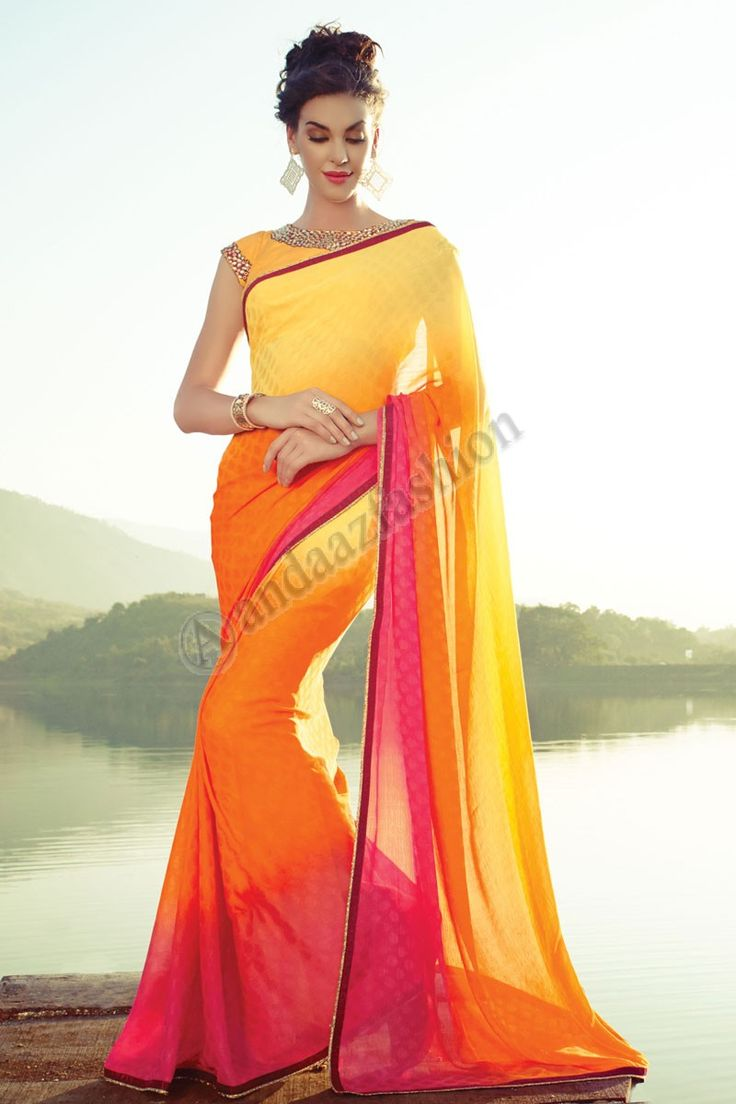 Orange Rose Jaune en mousseline de soie satin Saree avec Chemisier blanc Conception n ° DMV7295 Prix- 49,20 Type de robe: Saree Tissu: Georgette Couleur: Orange rose et jaune Décoration: brodé, Resham, Zari Pour plus de détails: - http://www.andaazfashion.fr/orange-pink-yellow-chiffon-satin-saree-with-white-blouse-dmv7295.html