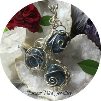 Dream Bird Jewellery_crystal energies_high vibrational jewellery_healing crystal_Handmade_sterling silver_wire wrapped_boho_blue apatite