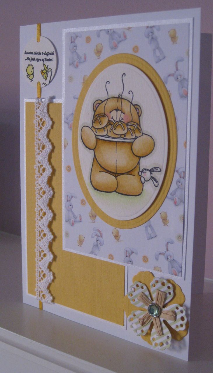 Easter card made using Forever Friends stamp and papers