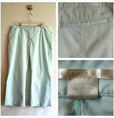 Nike Dri-Fit athletic Womens Cropped capri Pants size Large L 14W 14 golf casual
