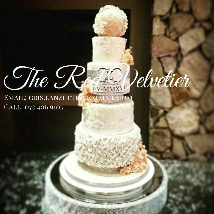 4 tier Italian inspired wedding cake.  Ruffles, lace, roses, love