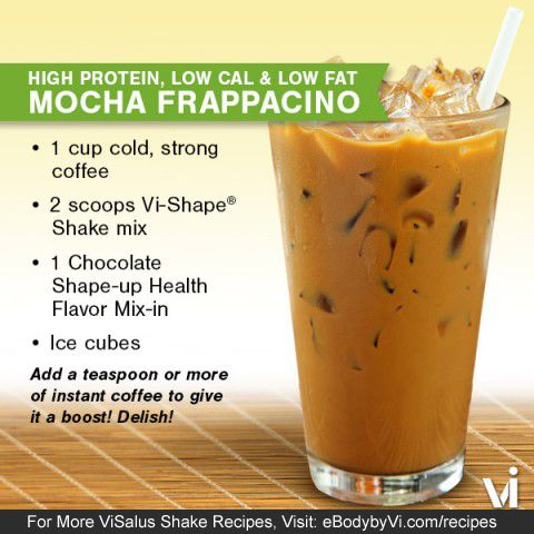 Quench your thirst (and hunger) with this cold and refreshing high protein, low calorie, low fat meal replacement Body by Vi drink. Stay COOL this Summer with Our Mocha Frappacino Vi-Shake!