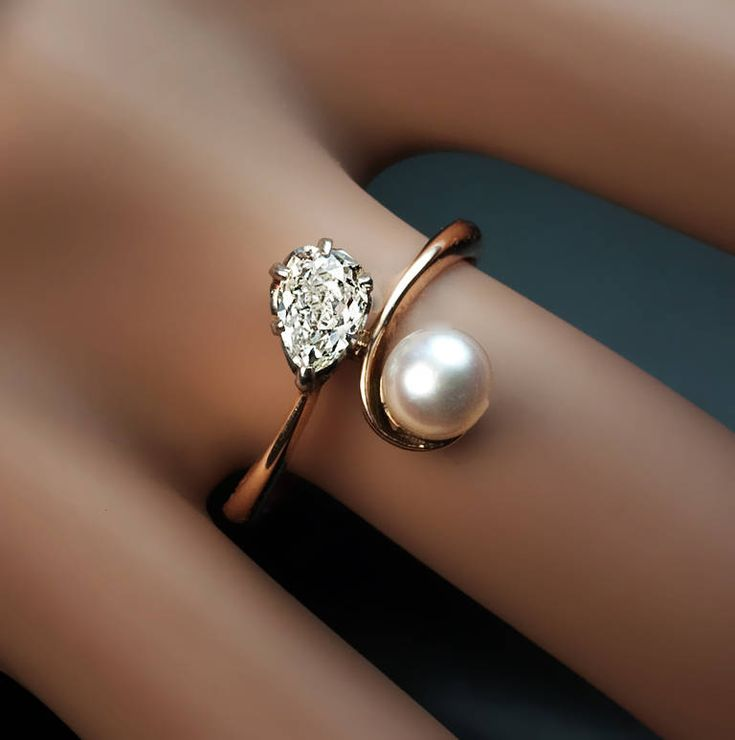 Old Russian Diamond and Pearl Bypass Engagement Ring image 2