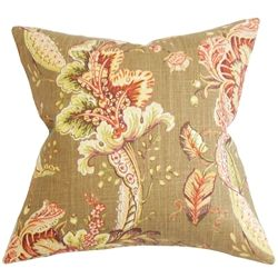 This plush home accessory makes your living space extra cheery and inviting. It's the best and easiest way to dress up your couch, seat and bed. Simply toss this floral throw pillow in your bedroom, living room or guest room. It features an earthy color palette in shades of brown, orange, purple, white, green and natural. Made from plush materials: 55% linen and 45% rayon fabric. $55.00  #tosspillow #pillow #decorpillow