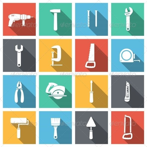 Tools Flat Icons Set — Vector EPS #internet #saw • Available here → https://graphicriver.net/item/tools-flat-icons-set/6958625?ref=pxcr