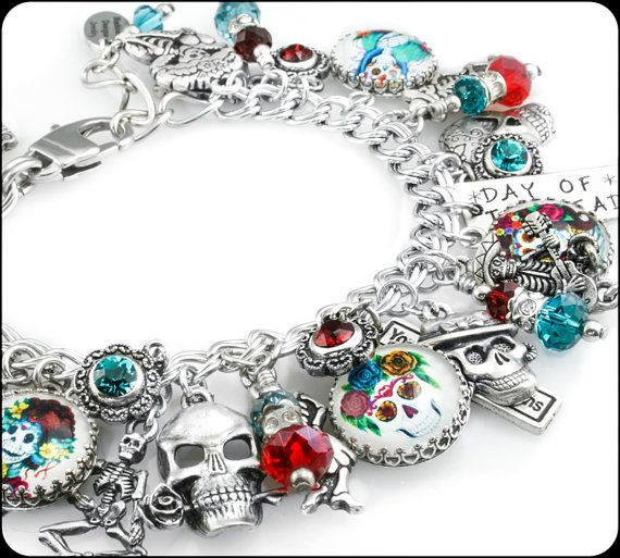 Day of the Dead Silver Jewelry, Dia de Los Muertos, Sugar Skull, Mexico Holiday, Frida Kahlo, Halloween Jewelry