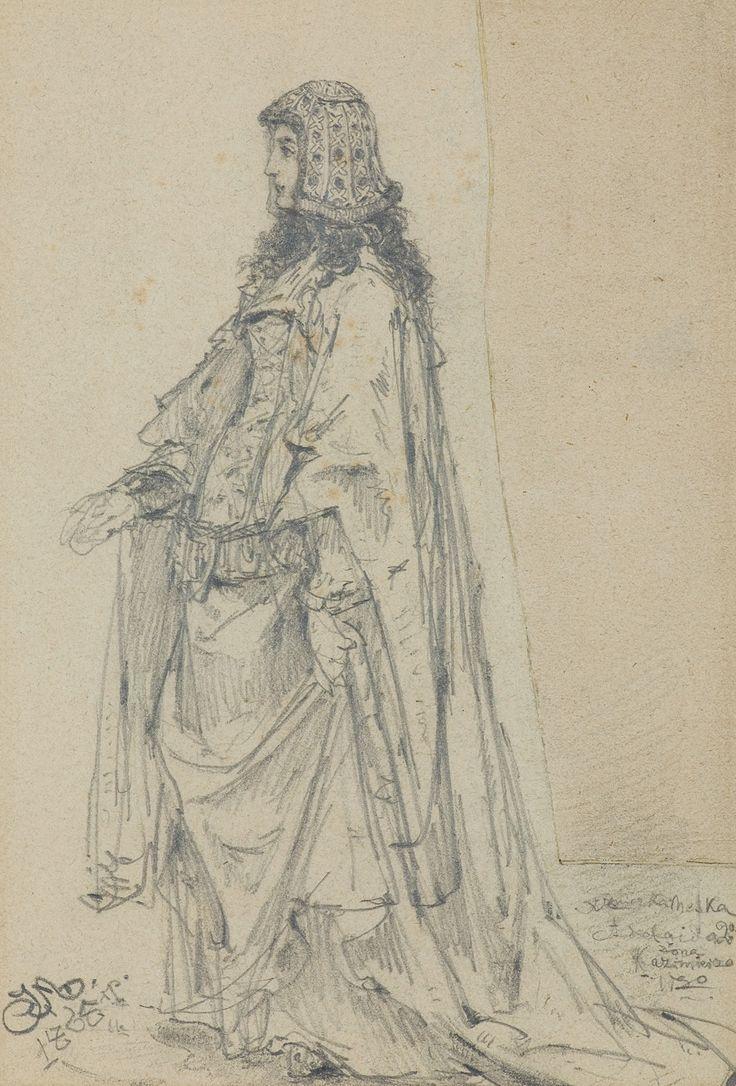 Jan Matejko | <i>ADELAJDA KSIĘŻNICZKA HESKA, 1865</i> | ołówek, papier | 21 x 14 cm